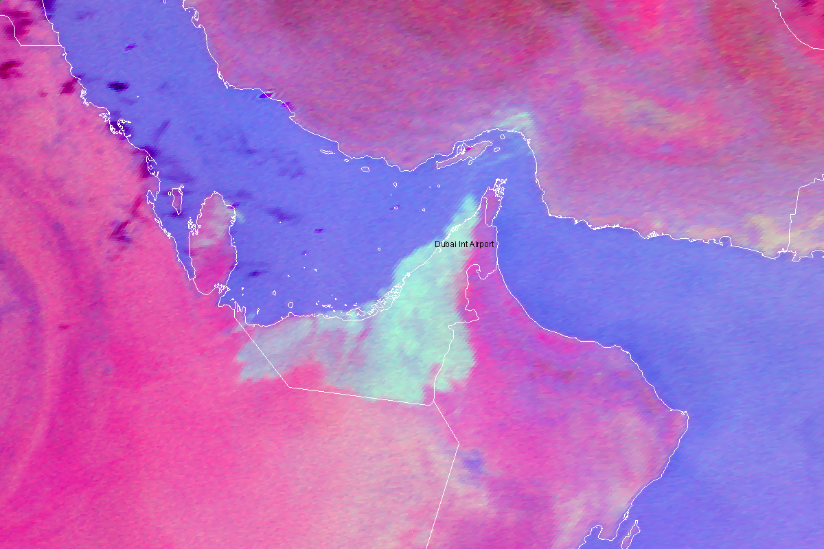 Satellite image showing fog blanketing the Straits of Hormuz