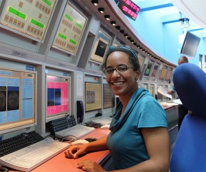 Anne-Meagan in the Meteosat control centre at EUMETSAT Headquarters, Darmstadt, Germany