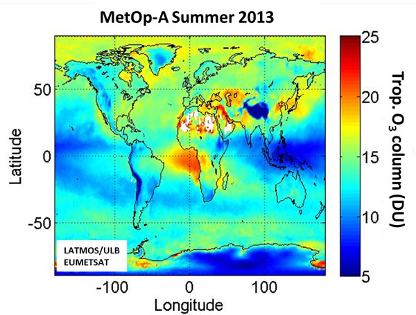 image showing ozone concentrations in the troposphere worldwide