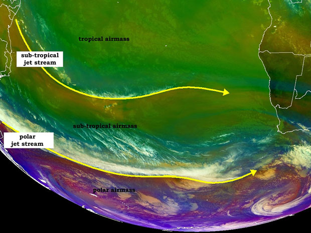 image showing airmasses and typical location of jet streams