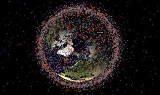 Orbit around the Earth amongst space debris