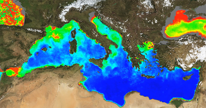 Mediterranean Sea Ocean Colour 2011 – Courtesy of CMEMS. Ocean colour is used to map the abundance of tiny marine plants (phytoplankton) the basis of the marine food chain. On the image, red indicates highest abundance of phytoplankton and blue indicates lowest abundance.