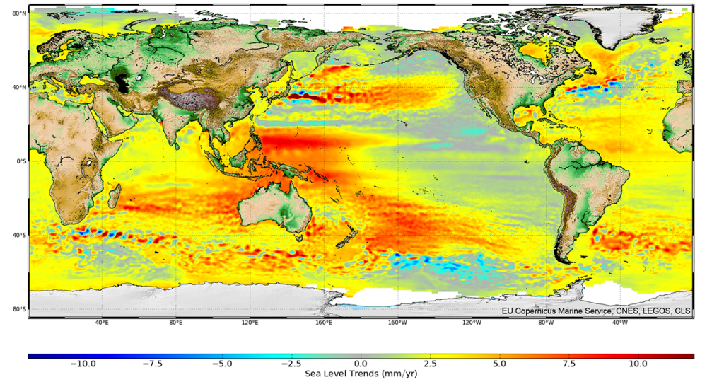Global sea level change measured by satellite radar altimeters between 1993 and 2015. Note that the change is not the same everywhere, and that it the numbers are mostly positive, indicating sea level rise.